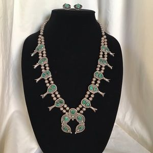 Sterling Silver Malachite Squash Blossom Necklace